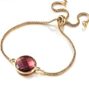 Wine Red Crystal Quartz Gold Bracelet